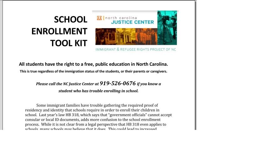School Enrollment Tool Kit cover